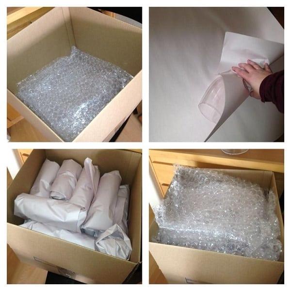 nên sử dụng túi bóng khi để đóng gói sản phẩm dễ vỡ
