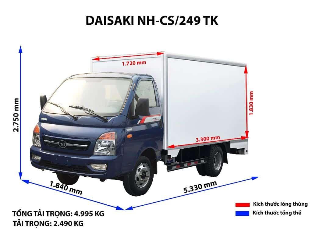 Đa dạng kích thước xe tải