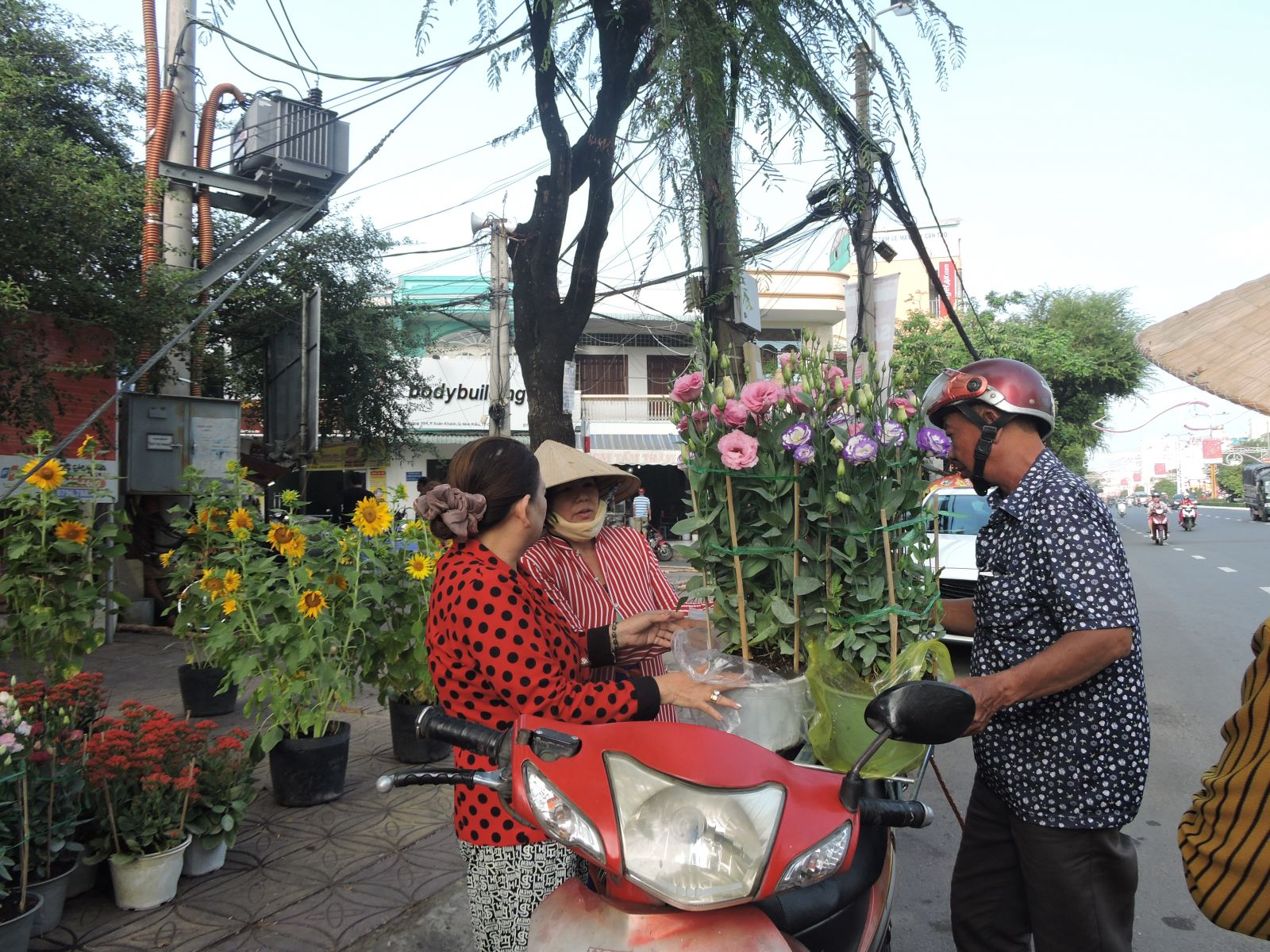 dịch vụ xe chở hoa ngày tết bằng xe máy