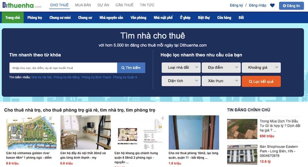 website tìm phòng trọ, đi thuê nhà